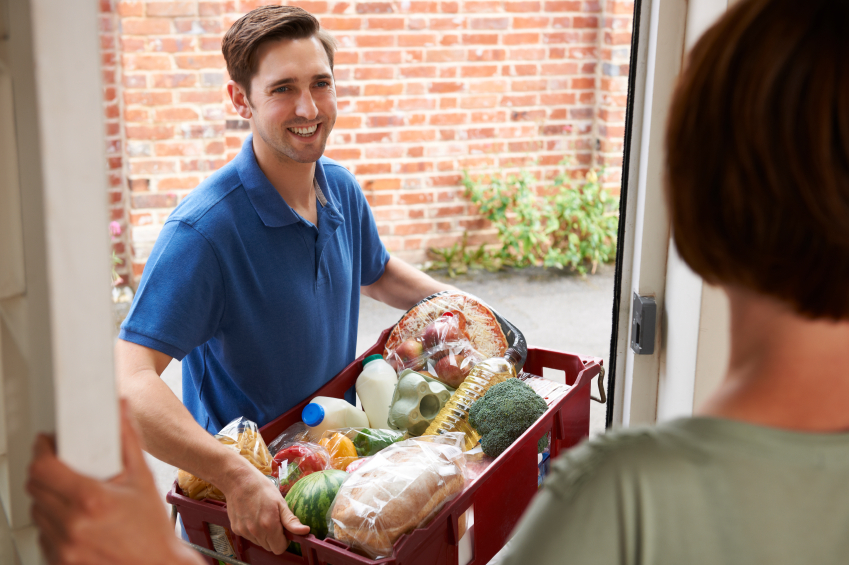 Driver Delivering Online Grocery Shopping Order