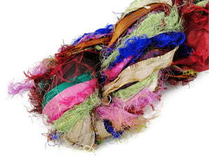 Recycled Silk Sari Ribbon Yarn By Amber Threads