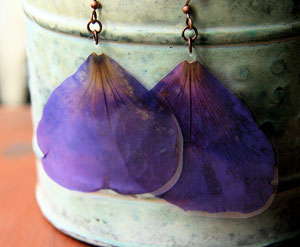Purple Princess Flower Pressed Flower Petal Earrings By IMPRESSEDbyNature