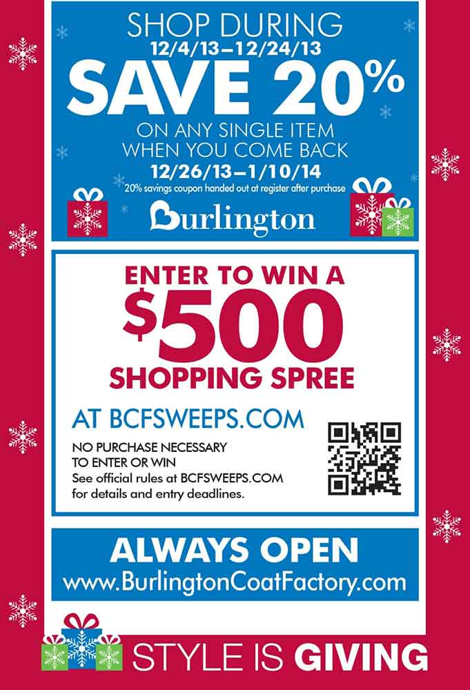 Burlington coat factory printable coupons 20 off