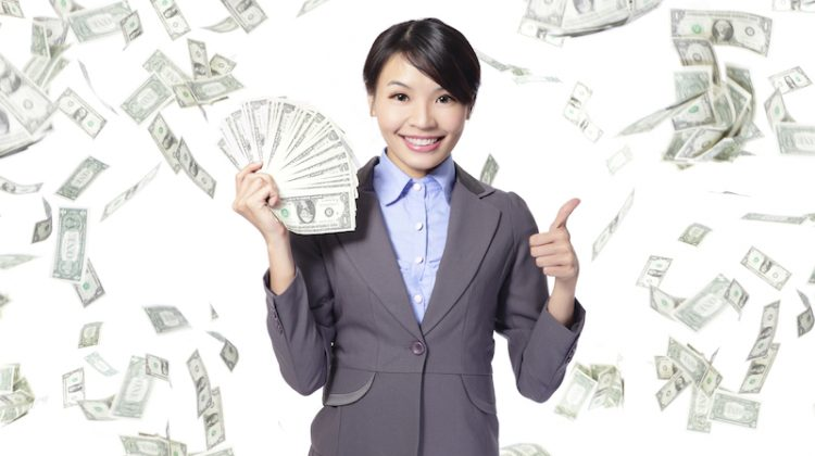 woman happy with money