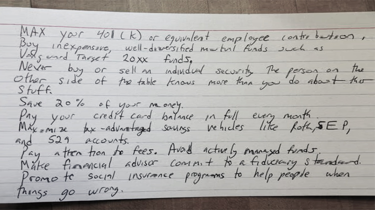 Index card reprinted with permission. Copyright Harold Pollack