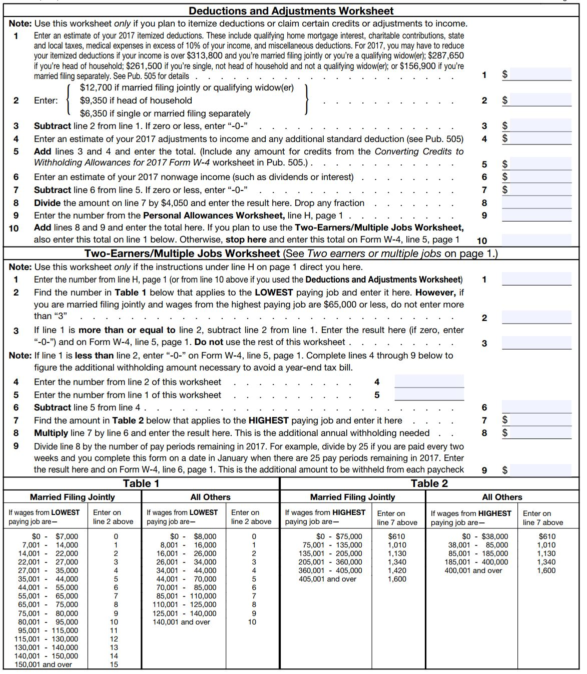 Estimated tax worksheet instructions