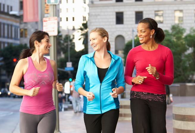 Women walking downtown