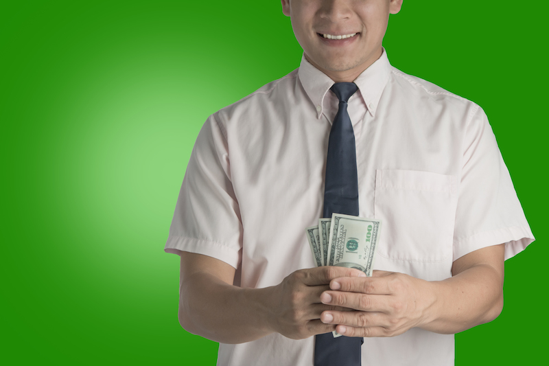 Man carrying cash
