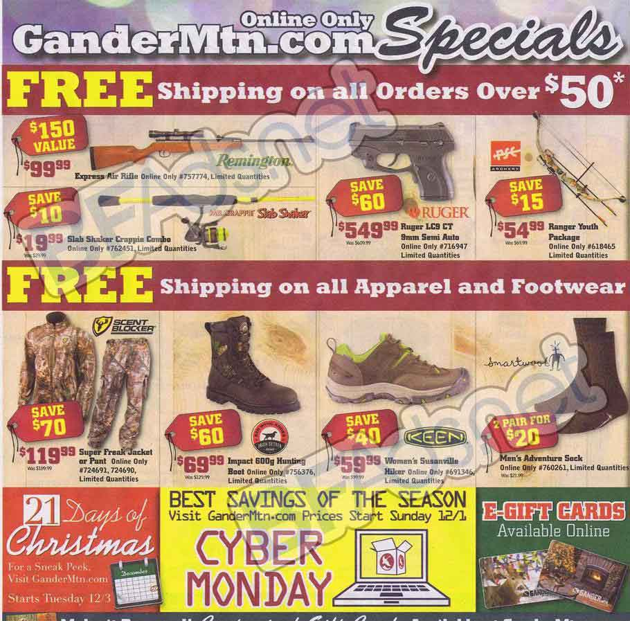 Finding Gander Mountain Deals, Sales and Savings. Shop Gander Mountains Semi-annual sale on ammo, firearms, and accessories. Get up to 40% off today. Did this coupon work for you? Black Friday is here and we have a whole section dedicated to the biggest shopping event of the year!