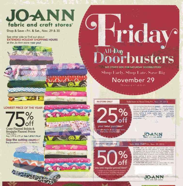Jo ann black friday 2013 ad find the best jo ann black for Joann craft store hours
