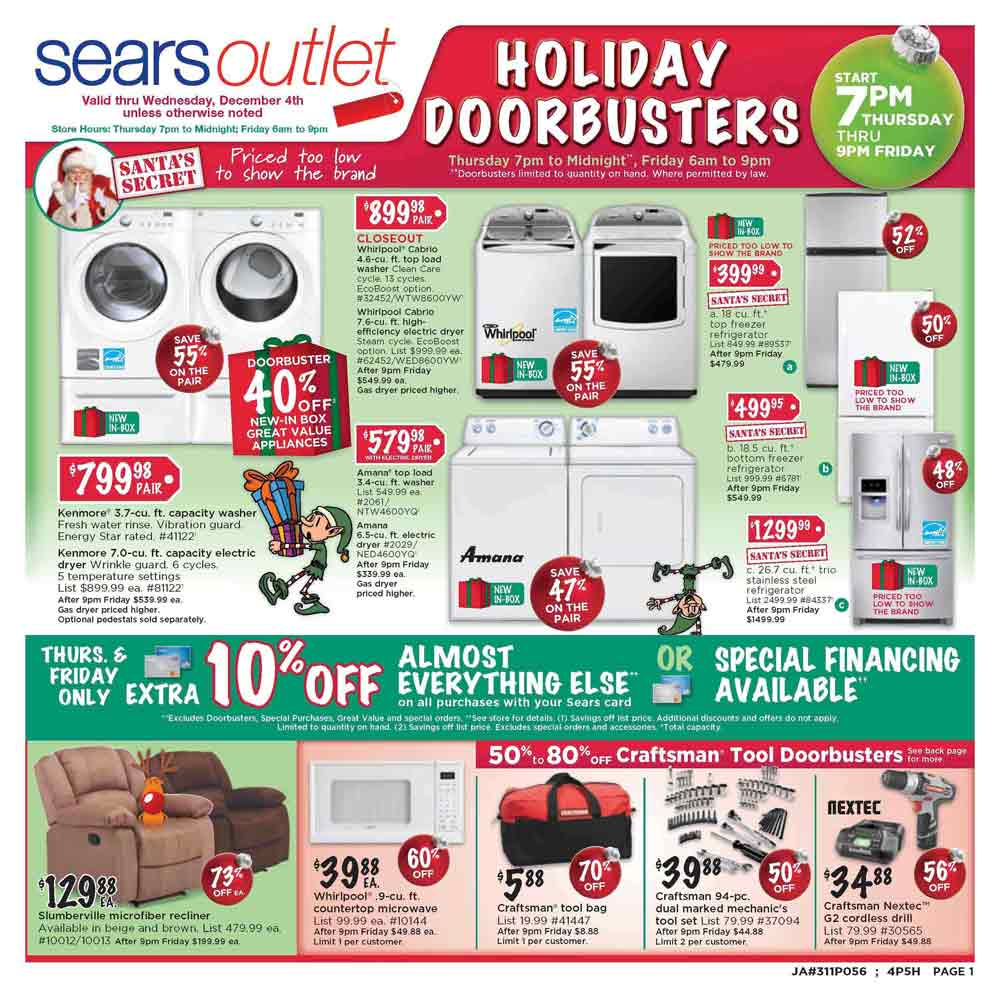 The Sears Outlet Black Friday ad is here! Starting at 7AM on Black Friday, stores will open and the deals will be available through the weekend. You can shop deals .