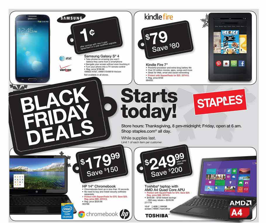 Best Staples Black Friday deals: Staples Black Friday ad. The office superstore has to make up with breadth for being unable to offer prices as dirt cheap as other retailers. For instance, its cheapest Chromebook special is a $ HP with Intel Celeron processor, 4GB of RAM, 16GB of storage, and inch screen — $50 more than the.