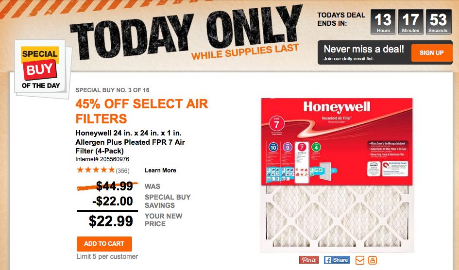 honeywell air filter home depot