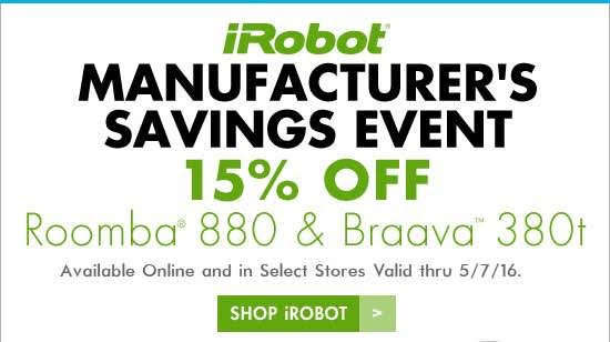 save $105 on irobot roomba 880 vacuum at bed bath & beyond