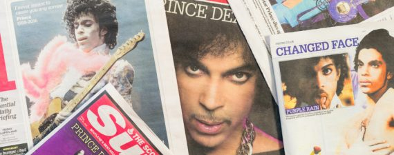 Edinburgh, UK - April 22, 2016: A selection of British newspapers featuring the musician Prince, following news of his death on 21st April 2016. Born in Minneapolis in 1958, Prince received widespread appreciation for his musical innovation and skill, as well as his commercial success.   UK newspapers featuring Prince, published in tribute following his death on 21st April 2016.  All artist royalties from sales of this file and others in the lightbox linked to below are donated to Oxfam, an international charity committed to finding lasting solutions to poverty and related injustice around the world.  Please click here to see the files in the Oxfam Donation lightbox.  Lightbox royalties donated to 1st August 2015: GBP 1,823.56 (USD 2,850.88) Next date for donations: 1st August 2016