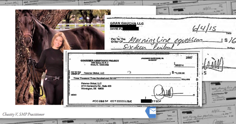 Signed checks show that Chastity Valdes, who headed Consumer Assistance Project LLC, paid company money to an equestrian center where former CAP supervisor Bob Greenberg says she boarded a horse. Sources: Skull SMP Clinic web site, public records.