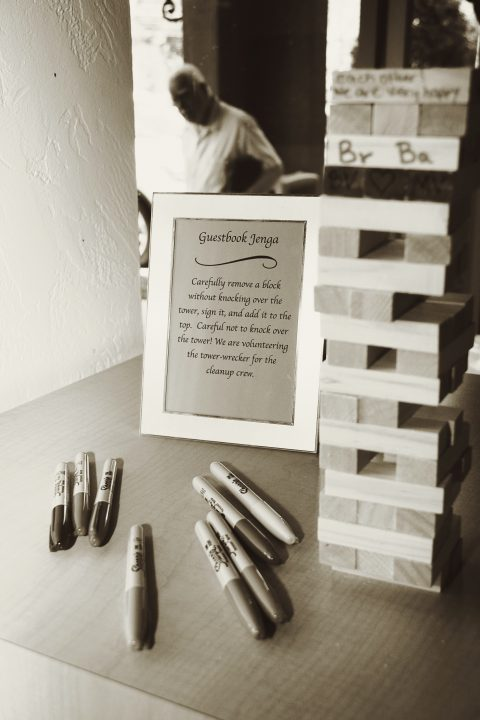 The Verlegers introduced the reception's playful theme by inviting family and friends to sign the guestbook Jenga.
