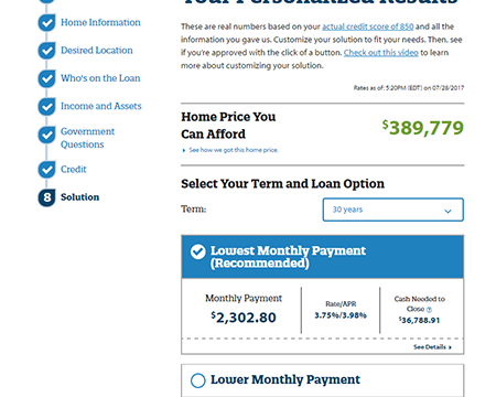 rocket mortgage solutions screen shot