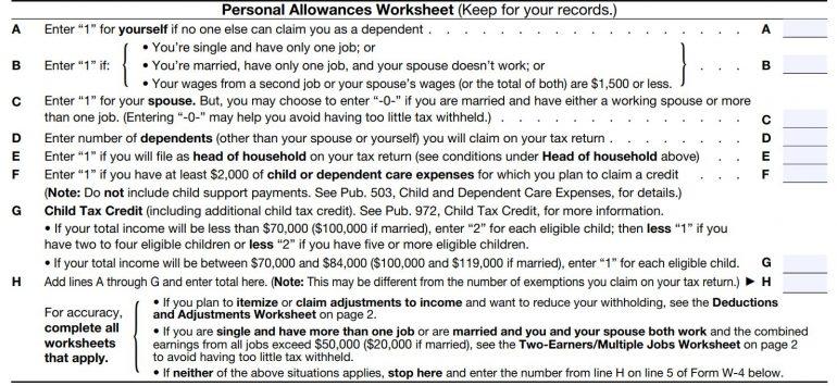 personal allowances worksheet
