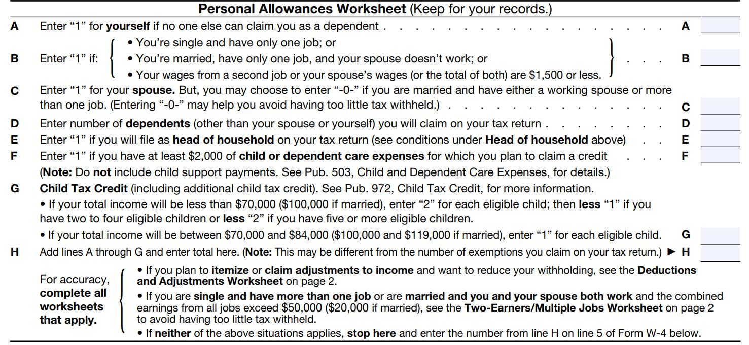 Worksheets Personal Allowance Worksheet how to fill out a w 4 form and decide much claim nerdwallet personal allowances worksheet