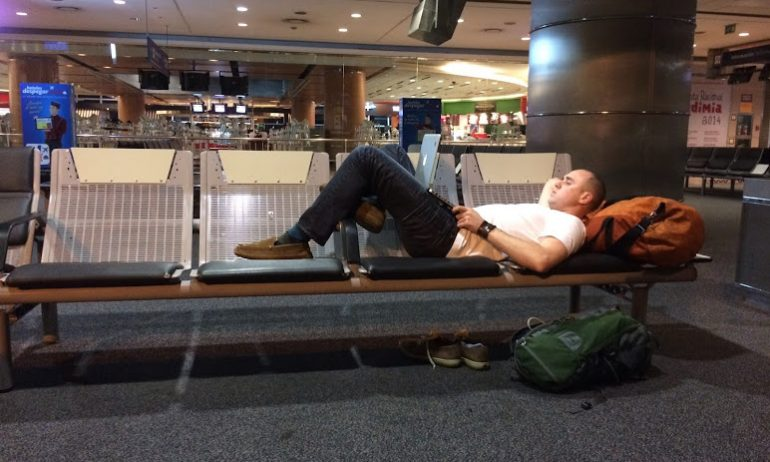 Resting at the airport in Buenos Aires.