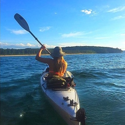 When she's home, Lakenen hits Lake Superior for kayaking and surfing.