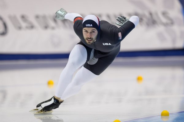Mitch Whitmore competes with help from a performance-based stipend from the U.S. Olympic Committee. (Photo credit: U.S. Speedskating/John Kleba)