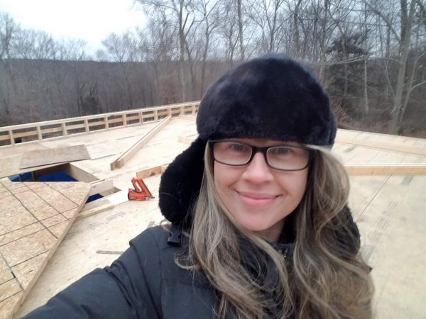 Jennifer Buck and her DIY home, mid-build.