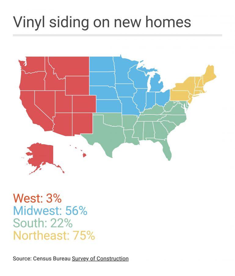 map of vinyl siding use by region